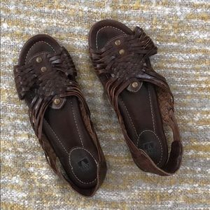 Frye brown leather sandals, size 8